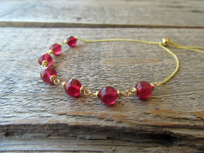 Adjustable Ruby Bracelet in 14k Gold