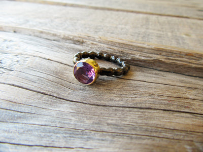 Amethyst Black and Gold Ring