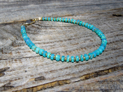 RESERVED - Blue Opal Bracelet in Gold Vermeil