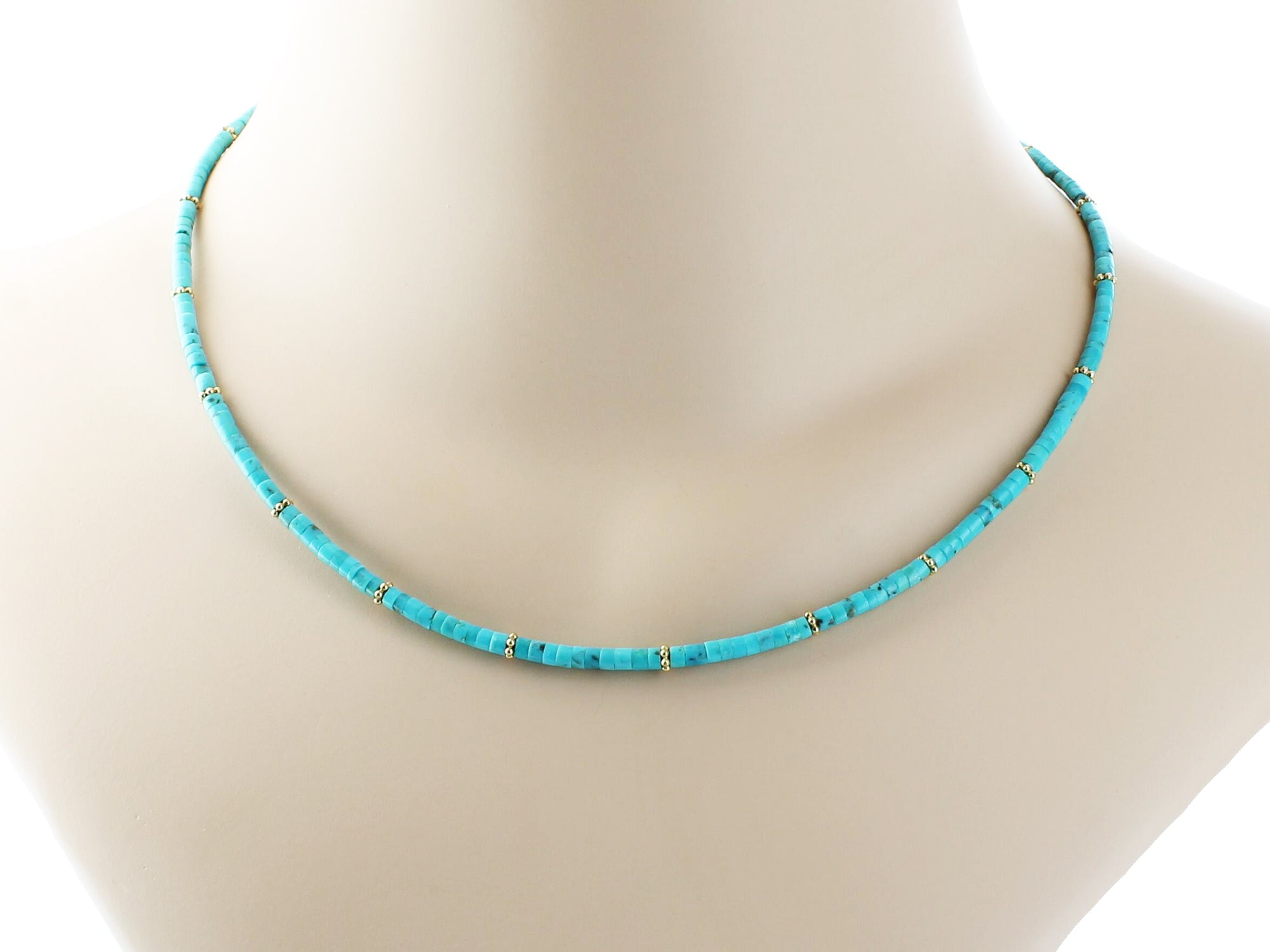 turquoise pin spectacular strand heishi on necklace string blue