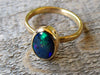 14k Gold Black Honeycomb Opal Ring