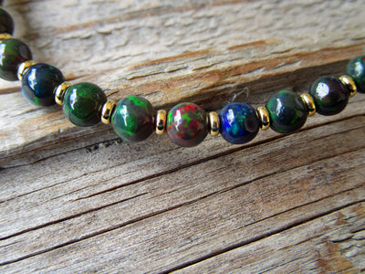 Black Opal Bracelet in 14k Yellow Gold