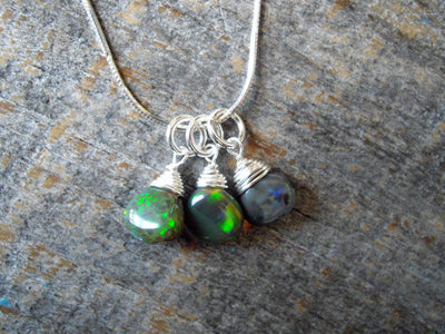 Black Opal Cluster Necklace