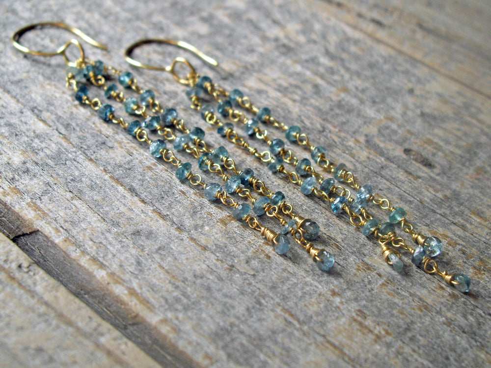 with gold in diamond cascade earrings ippolita senso diamonds