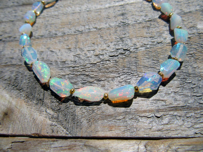 Faceted Opal Bead Bracelet