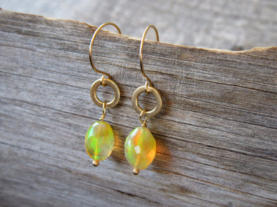 Fire Opal Earrings in 14k Gold