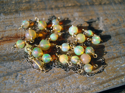 Black & Gold Collection Necklace in Fire Opal