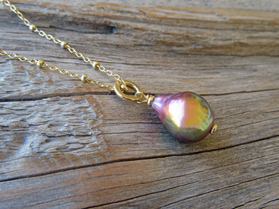 Flameball Pearl Pendant in 14k Gold