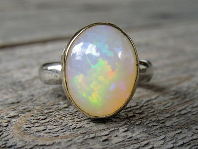 Large Honeycomb Opal Ring