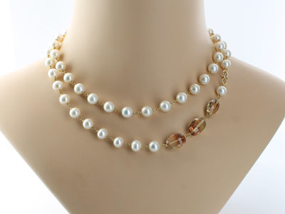 Pearl & Oregon Sunstone Necklace in 18k Gold