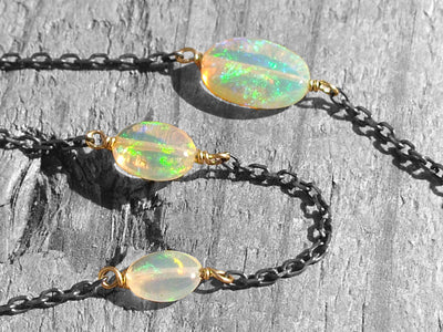Black & Gold Collection Necklace in Ethiopian Opal