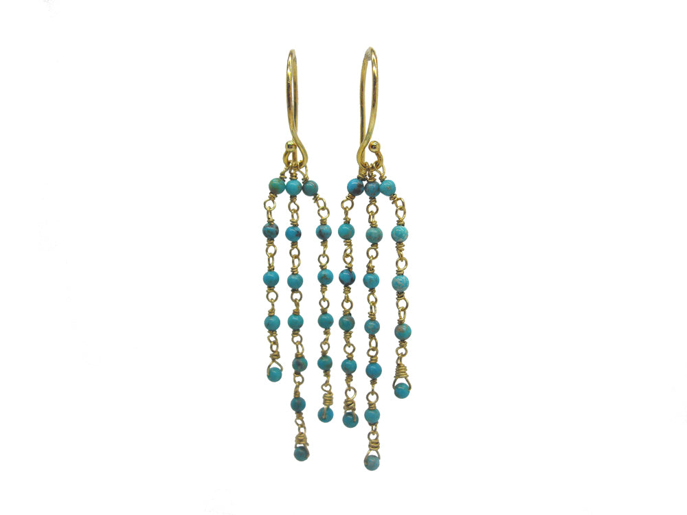 strand gold jewellery cluster earrings handcrafted beaded unique dress floating cascade gift costume party women drop bead multi