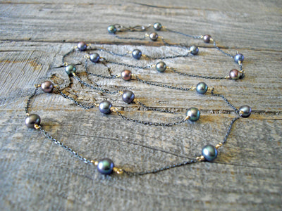 Long Layering Necklace in Black Pearl