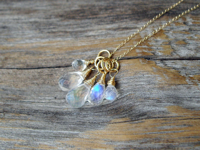 Briolette Cluster Necklace in Rainbow Moonstone