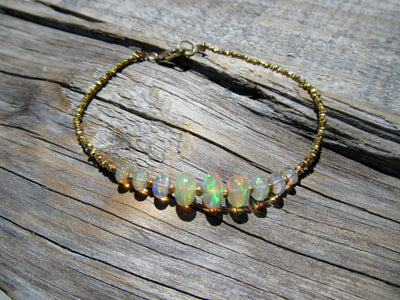 Opal Bead and Gold Vermeil Bracelet
