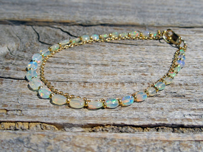 Opal Chain Bracelet in Gold Vermeil