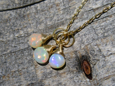 Opal Cluster Pendant in Gold Vermeil