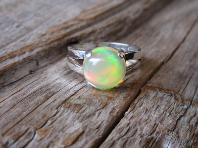 Round Ethiopian Opal Ring