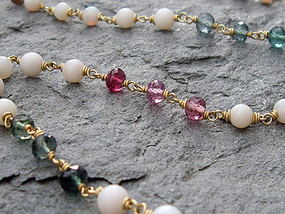 Tourmaline and Opal Necklace in 18k Gold