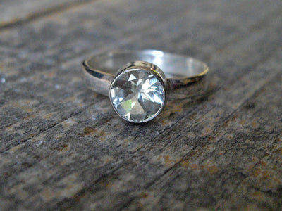 Round Green Amethyst Ring