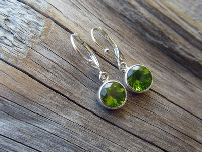 Round Peridot Drop Earrings