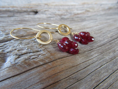 Ruby Cluster Earrings in 14k Gold