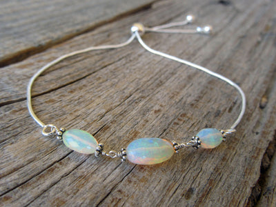 Sterling Silver Adjustable Opal Bracelet