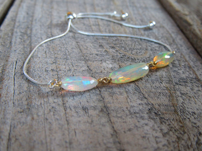 Adjustable Opal Bracelet in Sterling Silver