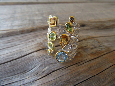 Open Mixed Gem Ring