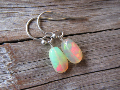 Silver Ethiopian Opal Earrings