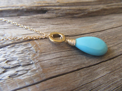 14k Gold Sleeping Beauty Turquoise Pendant