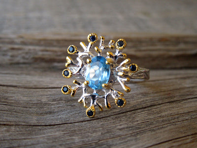 Snowflake Ring in Blue Topaz and Sapphire