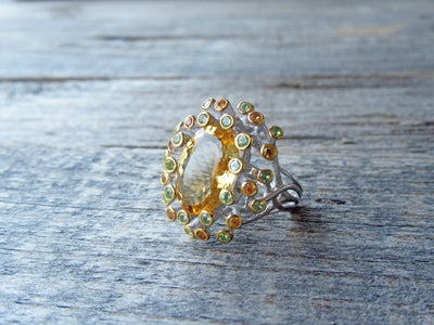 Sunburst Citrine and Sapphire Ring