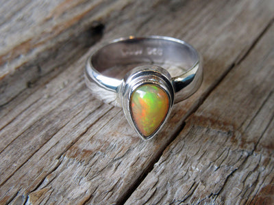 Teardrop Shaped Fire Opal Ring