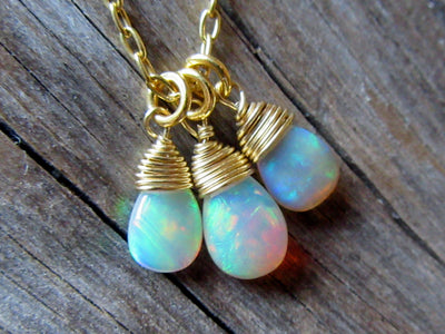 Three Opal Cluster Pendant