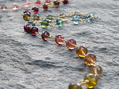 Multi Color Tourmaline Necklace in 18k Gold