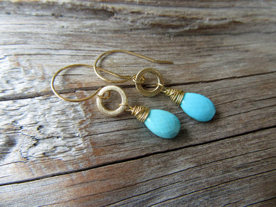 Sleeping Beauty Turquoise Earrings in 14k Gold
