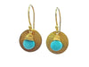 Gold Disc Earrings in Turquoise
