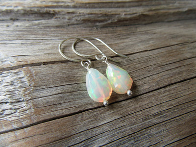 Faceted White Opal Earrings