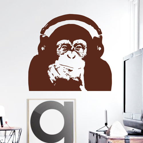 Vinyl Caesar Monkey Music Wall Sticker