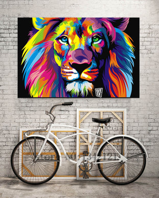 Pop Art Colorful Lion Animals Wall Canvas