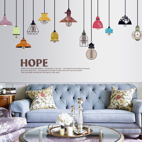 Colorful String Lamp Wall Decal with Hope Quote