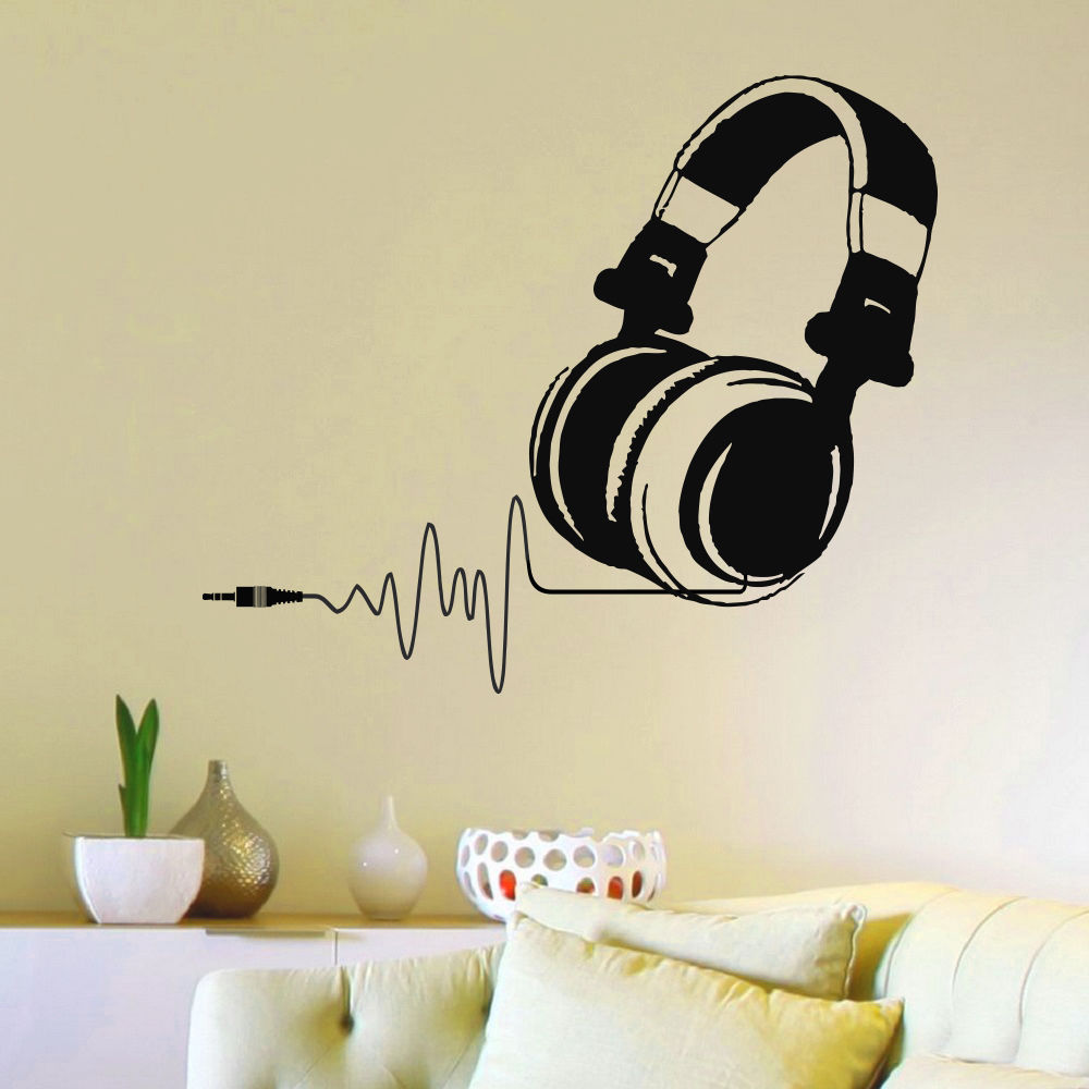 DJ Headphones With Chord Wall Decal
