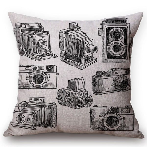 Multi Vintage Camera Cushion Cover