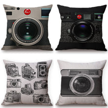 Black Vintage Camera Cushion Cover