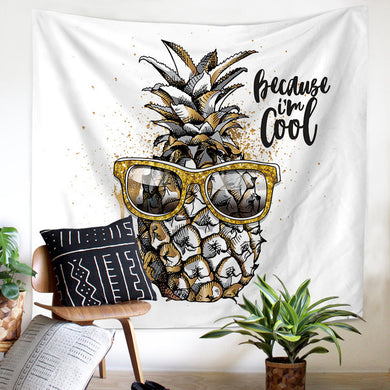 Cool Guy Pineapple Printed Tapestry