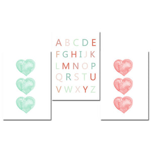 Watercolor Heart A to Z Wall Art