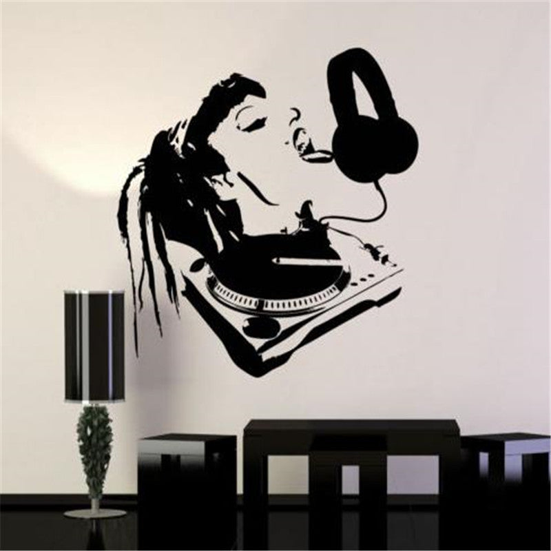 Sexy DJ Girl Licking Headphones Wall Decal