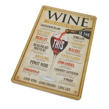Retro Wines From Around The World Tin Sign