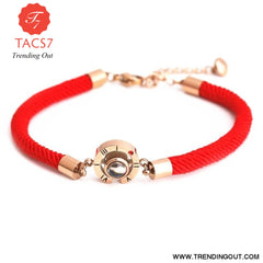 100 Languages I Love You Memory Bracelet Steel Rose Gold round red rope